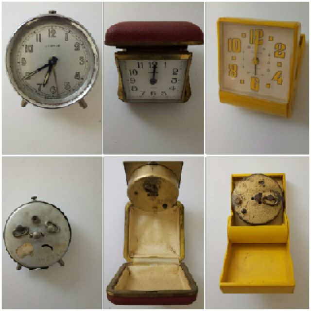 Vintage Collection of 3 Alarm Clocks Home Decor