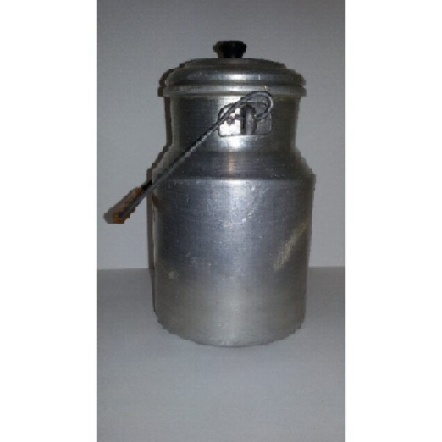 Vintage Aluminium Milk Can with Retro Styled Handmade Handle