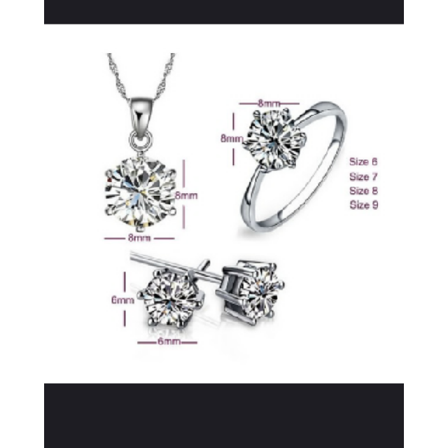 Jewelry Set Real Pure 6 Claw Cubic Zircon